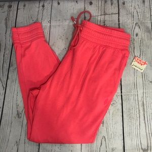 Free People Movement Hot Watermelon Tie Waist Ankle Joggers Size Small